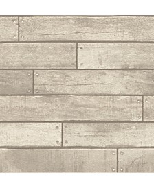 "Weathered Nailhead Plank Wallpaper - 396"" x 20.5"" x 0.025"""