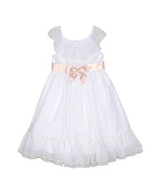 Toddler Girls Ruffle Neck Dress with Sash