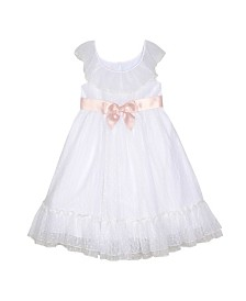 Laura Ashley Toddler and Little Girl's Ruffle Neck Dress with Sash