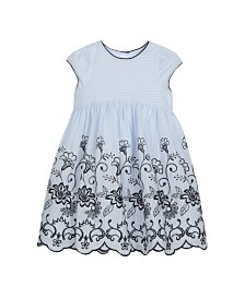Laura Ashley Girl's Cap Sleeve Dress with Contrast Embroidery
