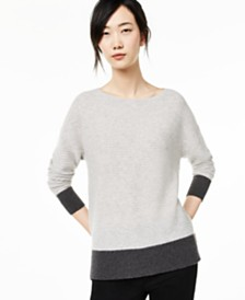 Charter Club Ribbed Colorblocked Cashmere Sweater, Created for Macy's