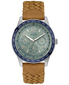 GUESS Men's Canyon Tan Braided Leather Strap Watch 44mm