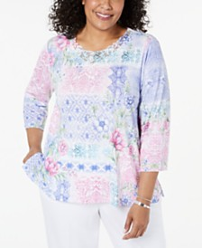 Alfred Dunner Plus Size The Summer Wind Printed Lace-Trim Top