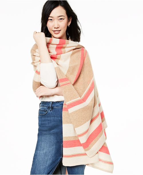 Charter Club Striped Oversized Cashmere Scarf, Created for Macy's