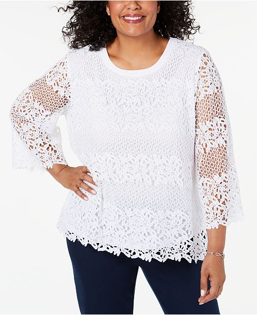 Alfred Dunner Plus Size Cayman Islands Striped Lace Top