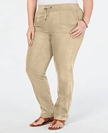 Plus Size Linen Slim-Leg Pants, Created for Macy's