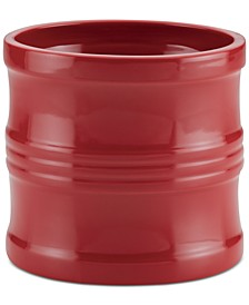 "Ceramics 7.5"" Tool Crock with Partition Insert, Red"