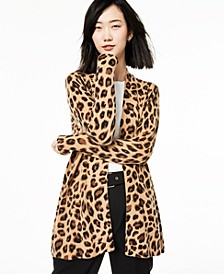 Animal-Print Pure Cashmere Cardigan, Regular & Petite Sizes, Created for Macy's