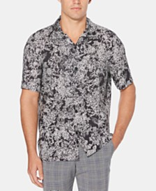 Perry Ellis Men's Regular-Fit Abstract Floral-Print Camp Shirt