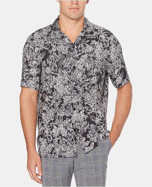 Perry Ellis Men's Regular-Fit Abstract Floral-Print Camp Shirt