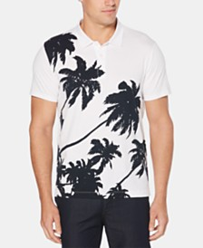 Perry Ellis Men's Regular-Fit Palm-Print Pima Cotton Polo