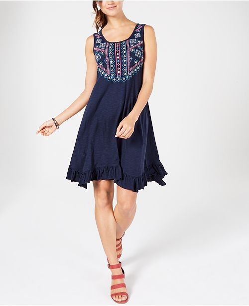 Style & Co Cotton Embroidered Ruffle-Hem Dress, Created for Macy's