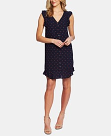 CeCe Ruffled Polka-Dot Dress