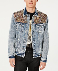 GUESS Men's Embroidered Yoke Denim Jacket