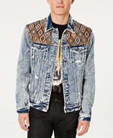 GUESS Men's Embroidered Yoke Denim Jacket