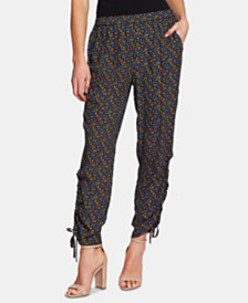 CeCe Moroccan Ditsy Ruched-Side Pants