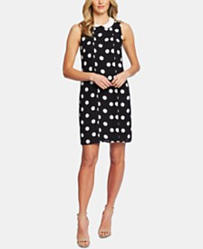 CeCe Collared Dappled Dot Dress