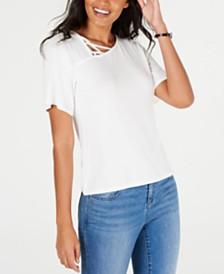 Thalia Sodi Asymmetric Lattice-Neck Top, Created for Macy's