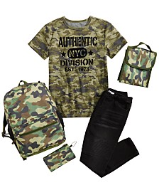 Epic Threads Big Boys Camo T-Shirt & Drawstring Jeans, Created for Macy's & Accessory Innovations 5-Pc. Camo Backpack Set