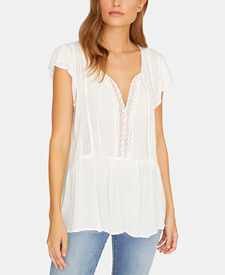 Summer Lace Flutter Sleeve Top by General