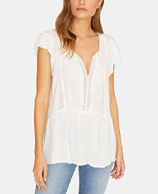 Sanctuary Summer Lace Flutter-Sleeve Top