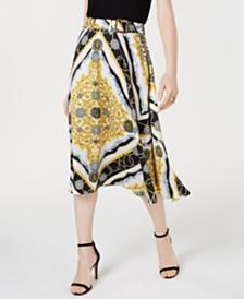 I.N.C. Belted Scarf-Print Midi Skirt, Created for Macy's