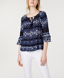 I.N.C. Tie-Front Peasant Top, Created for Macy's