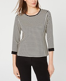 Anne Klein Striped 3/4-Sleeve Sweater