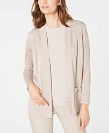 Anne Klein Malibu Pointelle Open-Front Sweater