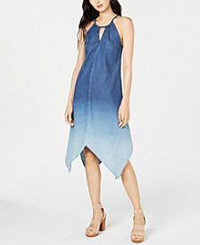 INC Handkerchief-Hem Ombré Denim Dress, Created for Macy's