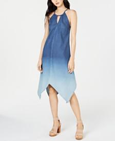 I.N.C. Handkerchief-Hem Ombré Denim Dress, Created for Macy's