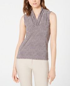 Anne Klein Sleeveless Dot-Print V-Neck Top