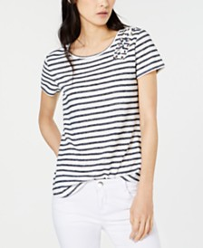 I.N.C. Lace-Up Knit T-Shirt, Created for Macy's