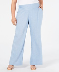 I.N.C. Plus Size V-Front Wide-Leg Pants, Created for Macy's