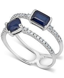 Sapphire (1 ct. t.w.) & Diamond (1/6 ct. t.w.) Ring in 14k White Gold
