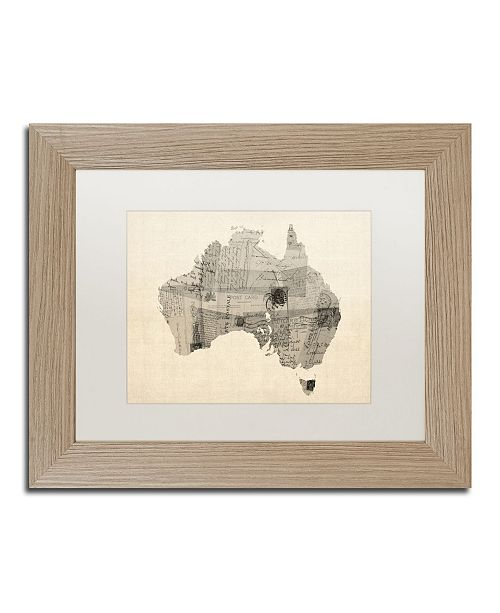 "Trademark Global Michael Tompsett 'Old Postcard Map of Australia' Matted Framed Art - 11"" x 14"""