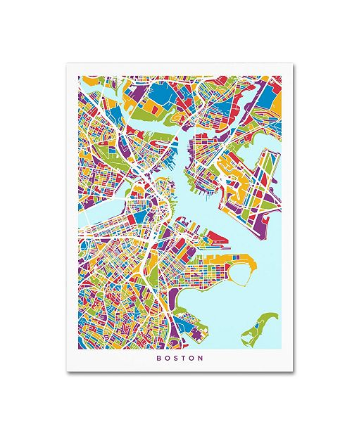 "Trademark Global Michael Tompsett 'Boston MA Street Map 2' Canvas Art - 14"" x 19"""