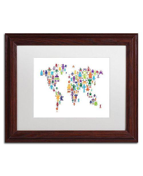 "Trademark Global Michael Tompsett 'Robot Map of the World' Matted Framed Art - 11"" x 14"""