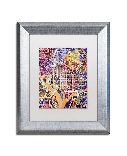 "Trademark Global Michael Tompsett 'Washington DC Street Map 2' Matted Framed Art - 11"" x 14"""