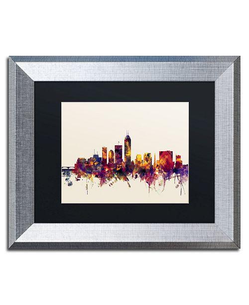 "Trademark Global Michael Tompsett 'Indianapolis Indiana Skyline' Matted Framed Art - 11"" x 14"""