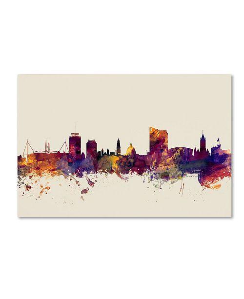 "Trademark Global Michael Tompsett 'Cardiff Wales Skyline' Canvas Art - 12"" x 19"""
