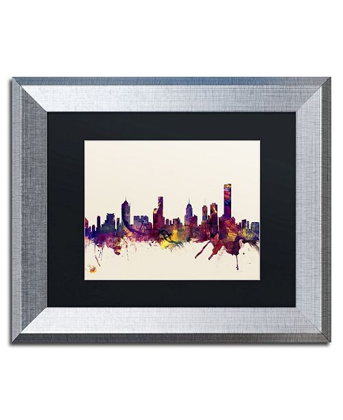 "Trademark Global Michael Tompsett 'Melbourne Skyline' Matted Framed Art - 11"" x 14"""
