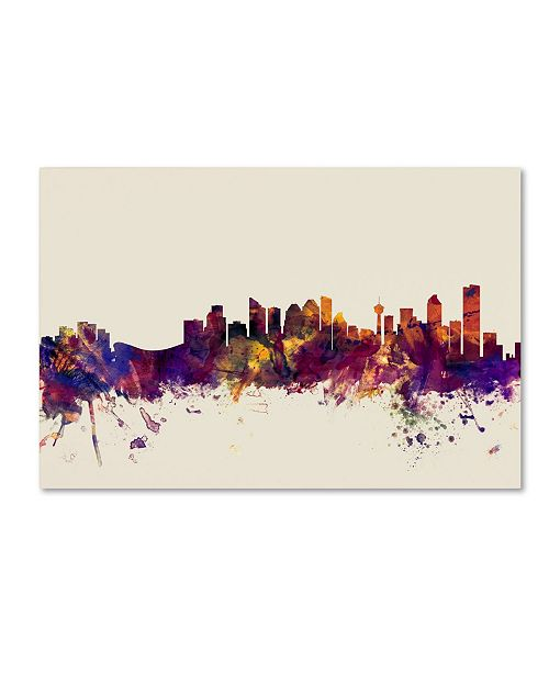 "Trademark Global Michael Tompsett 'Calgary Canada Skyline' Canvas Art - 12"" x 19"""