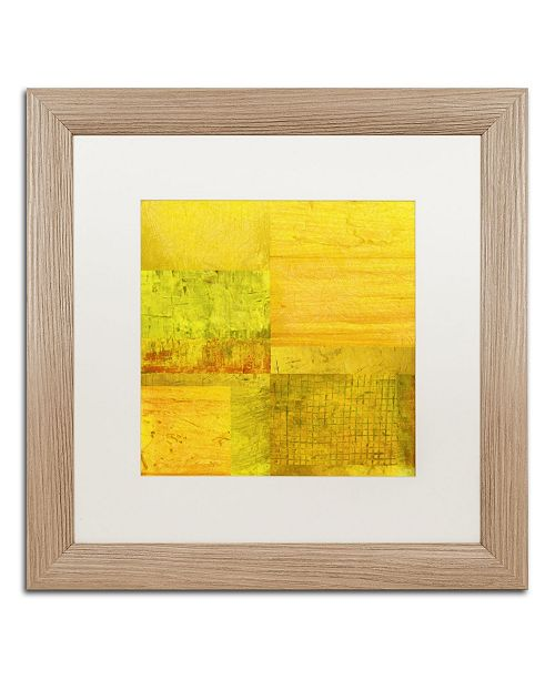 "Trademark Global Michelle Calkins 'Essence of Yellow' Matted Framed Art - 16"" x 16"""