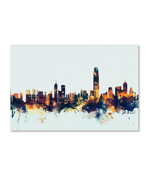 """Trademark Global Michael Tompsett 'Hong Kong Skyline Blue' Canvas Art - 12"""" x 19"""""""