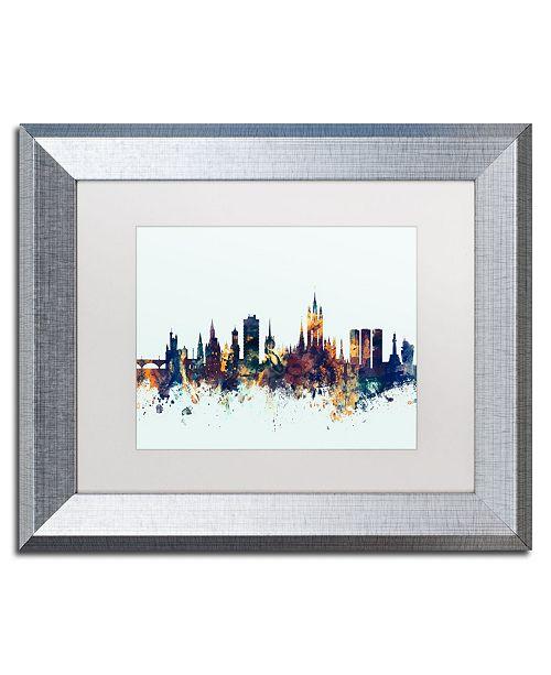"""Trademark Global Michael Tompsett 'Aberdeen Scotland Skyline Blue' Matted Framed Art - 11"""" x 14"""""""
