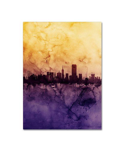 "Trademark Global Michael Tompsett 'San Francisco Skyline Tall' Canvas Art - 14"" x 19"""