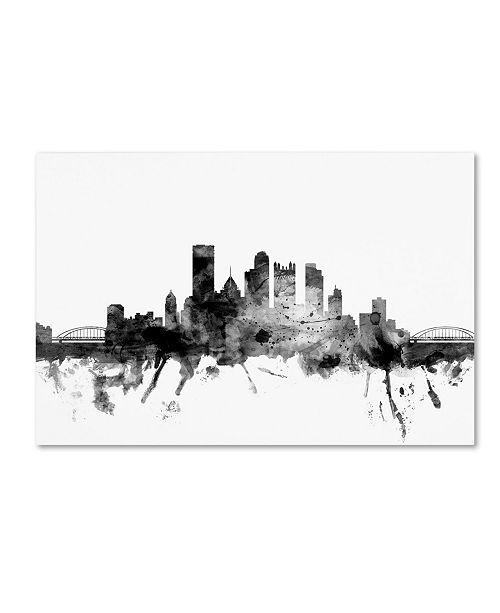 "Trademark Global Michael Tompsett 'Pittsburgh PA Skyline B&W' Canvas Art - 12"" x 19"""
