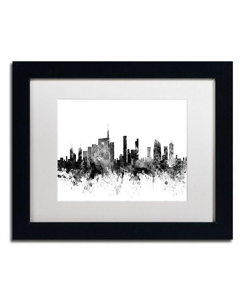 """Trademark Global Michael Tompsett 'Milan Italy Skyline B&W' Matted Framed Art - 11"""" x 14"""""""