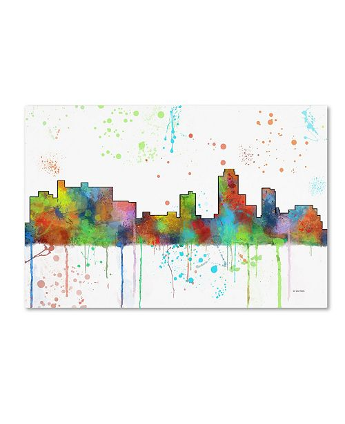 "Trademark Global Marlene Watson 'New Brunswick NJ Skyline Mclr-1' Canvas Art - 12"" x 19"""